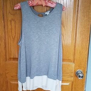 Tank top with mixed fabric detail